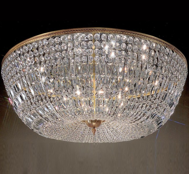 Crystal Baskets Collection 48    Dia Extra Large Brass   Crystal Flush     Crystal Baskets Collection 48    Dia Extra Large Brass   Crystal Flush Mount Ceiling  Light