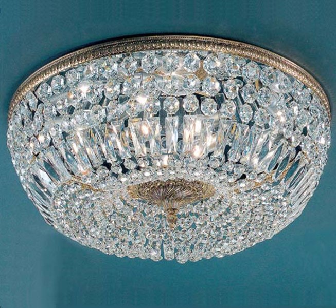 Crystal Baskets Collection 24    Dia Extra Large Brass   Crystal Flush     Crystal Baskets Collection 24    Dia Extra Large Brass   Crystal Flush Mount Ceiling  Light