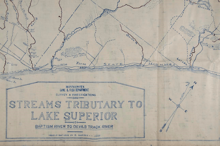 Old map inspires search for Minnesotan springs   Great Lakes Echo Surber s map measures 5 by 2 feet  It documents 50 springs flowing into  Lake Superior  Image  Minnesota DNR