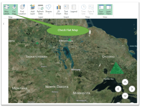 Create Maps on Microsoft Excel 2013 using Power Map Flat Map option