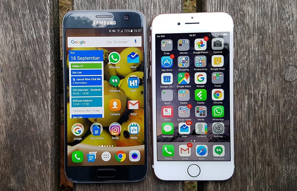 Farklılıklar Samsung Galaxy S7 iPhone 7'den