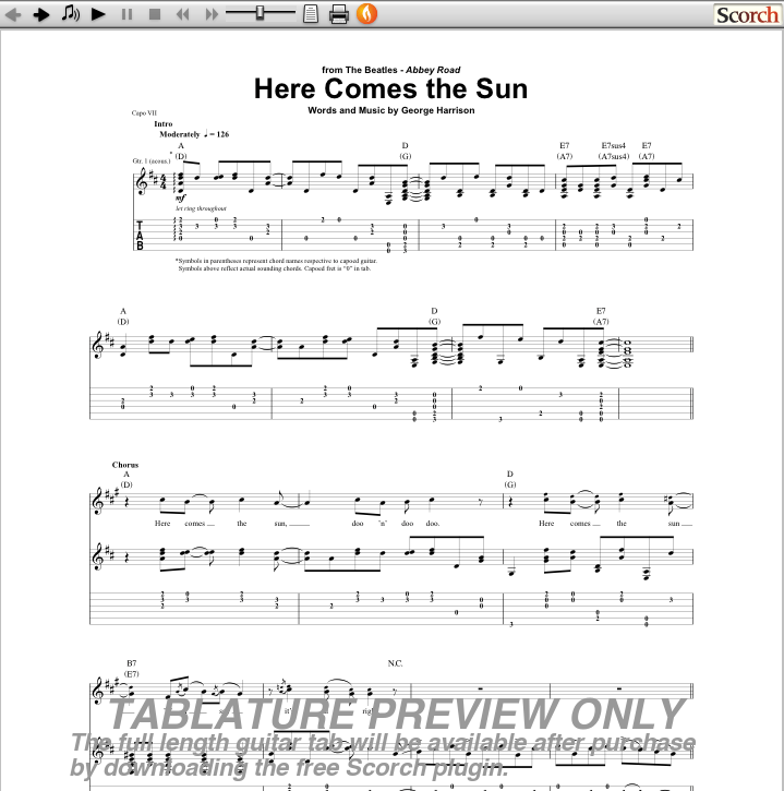 Beautiful Ukulele Chords Here Comes The Sun Sketch Song Chords