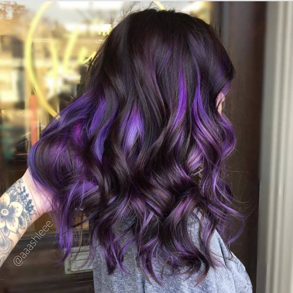 Brown Hair With Purple Highlights Path Decorations Pictures Full