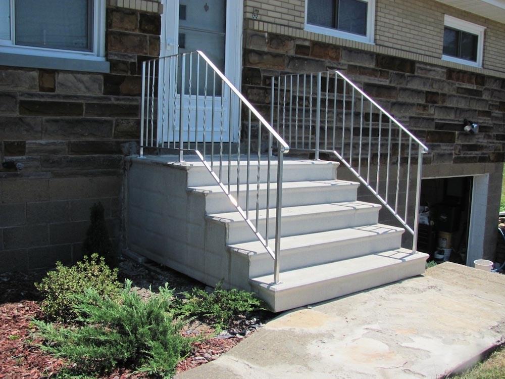 Hampton Concrete Products Precast Concrete Unit Steps7   Outdoor Railings For Concrete Steps   Front Porch   Concrete Slab   Railing Ideas   Steel Handrail   Brick