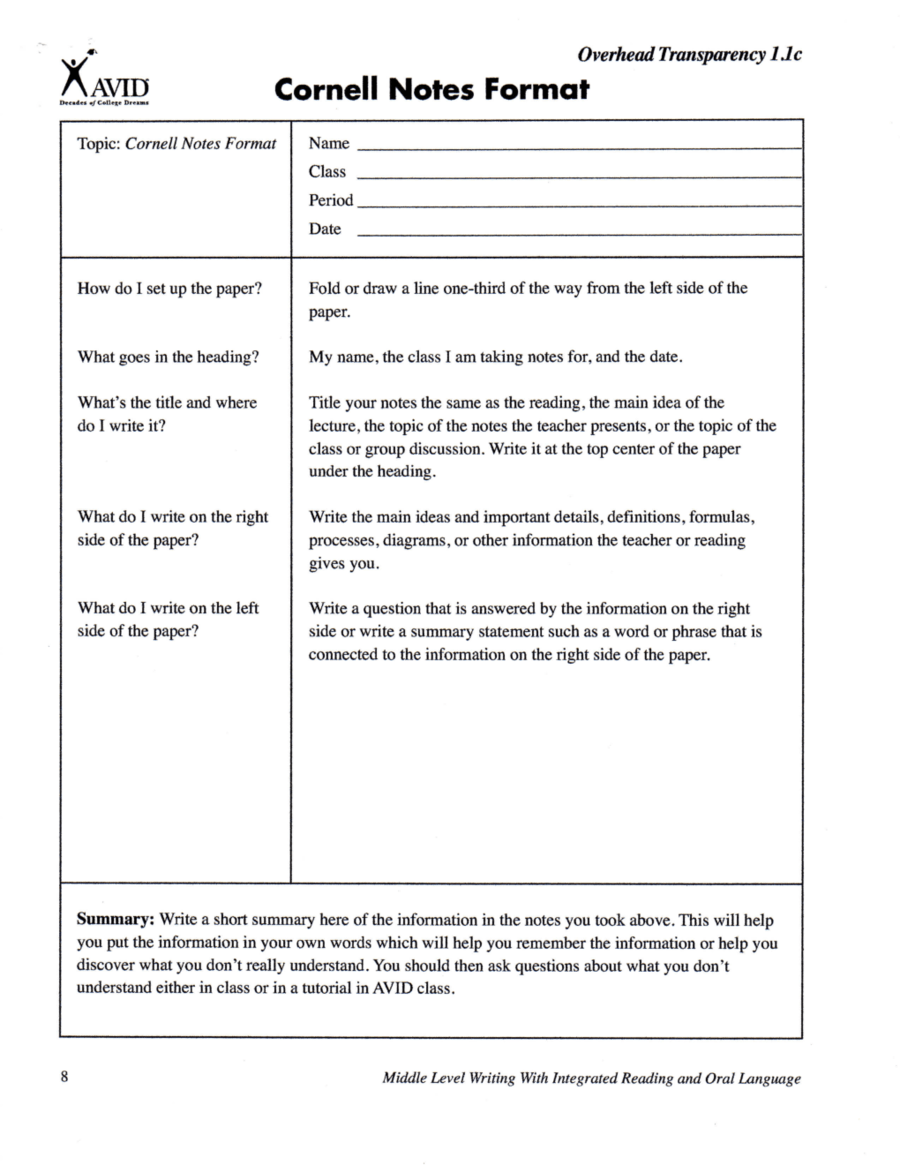 Awesome Template For Cornell Notes Gallery - Documentation ...