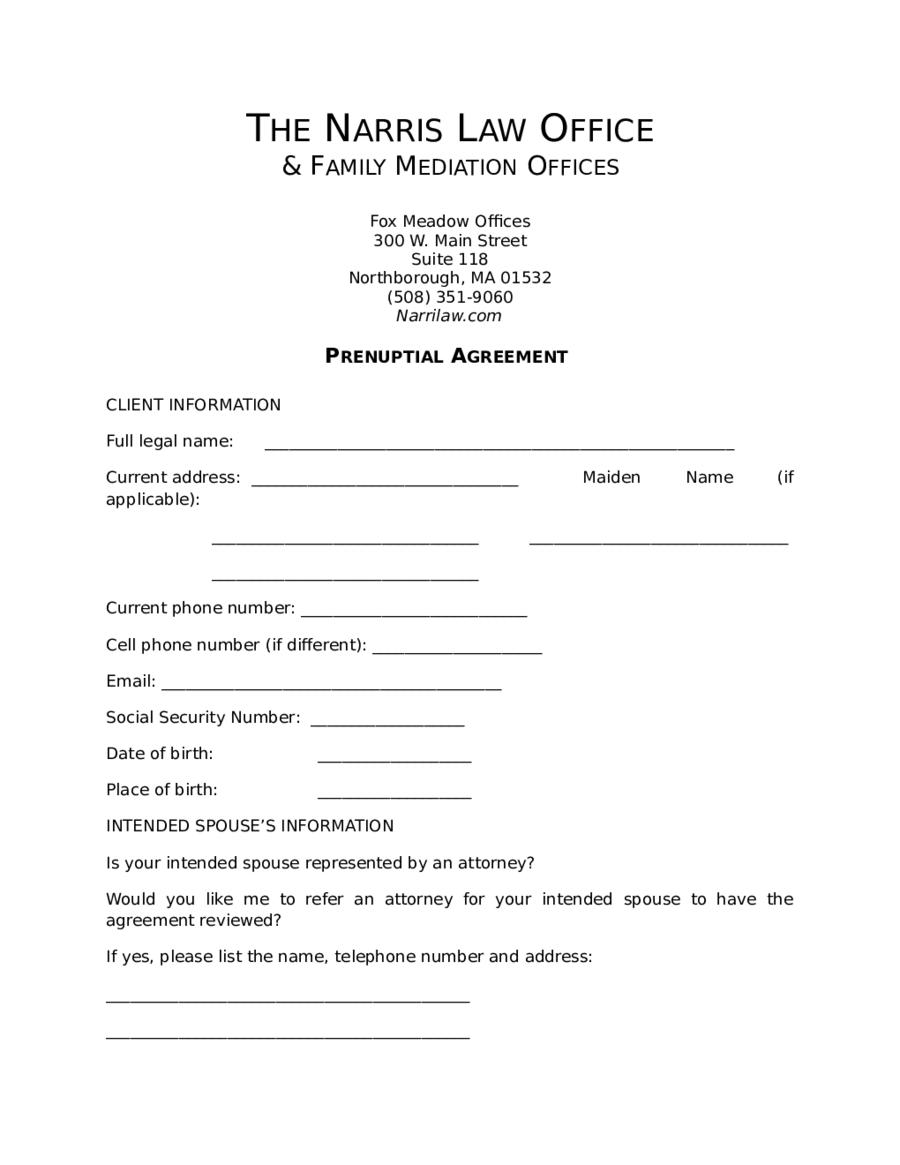 Printable Prenuptial Agreement New York