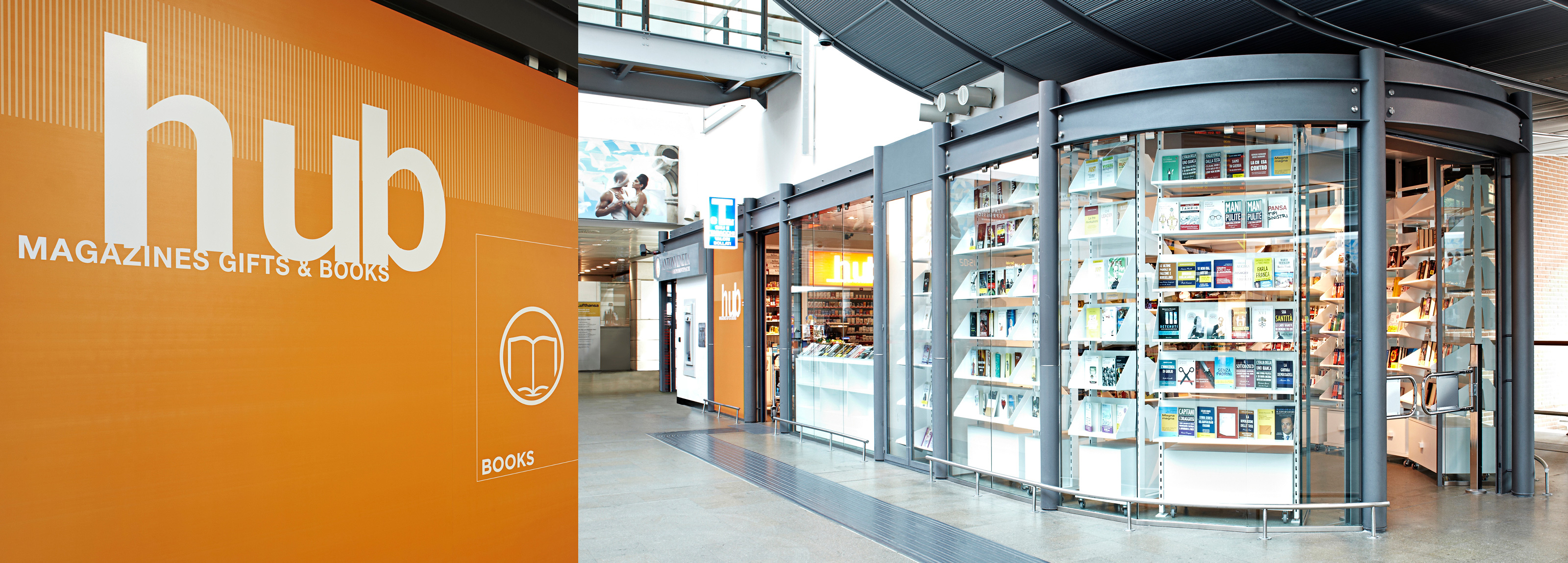 Airest Shop Design for Venice Airport   Hangar Design Group A contemporary look conceived of Hangar Design Group for the Hub shops  within the Venice Marco