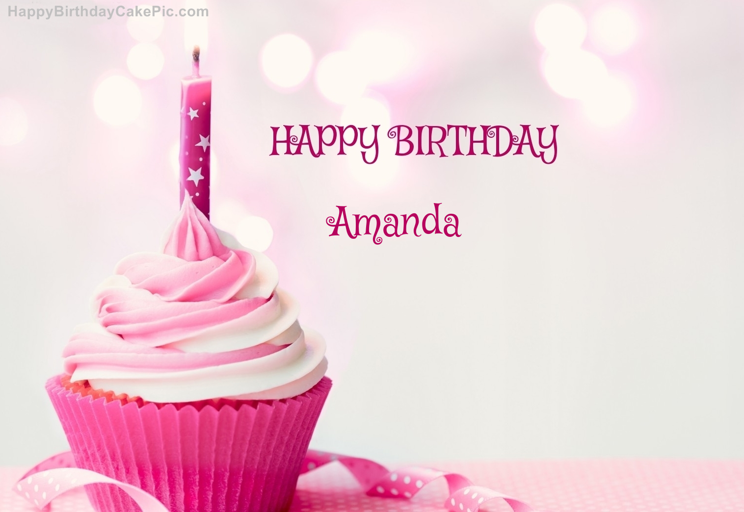 ️ Happy Birthday Cupcake Candle Pink Cake For Amanda