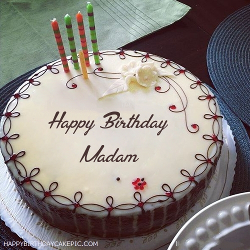 Candles Decorated Happy Birthday Cake For Madam