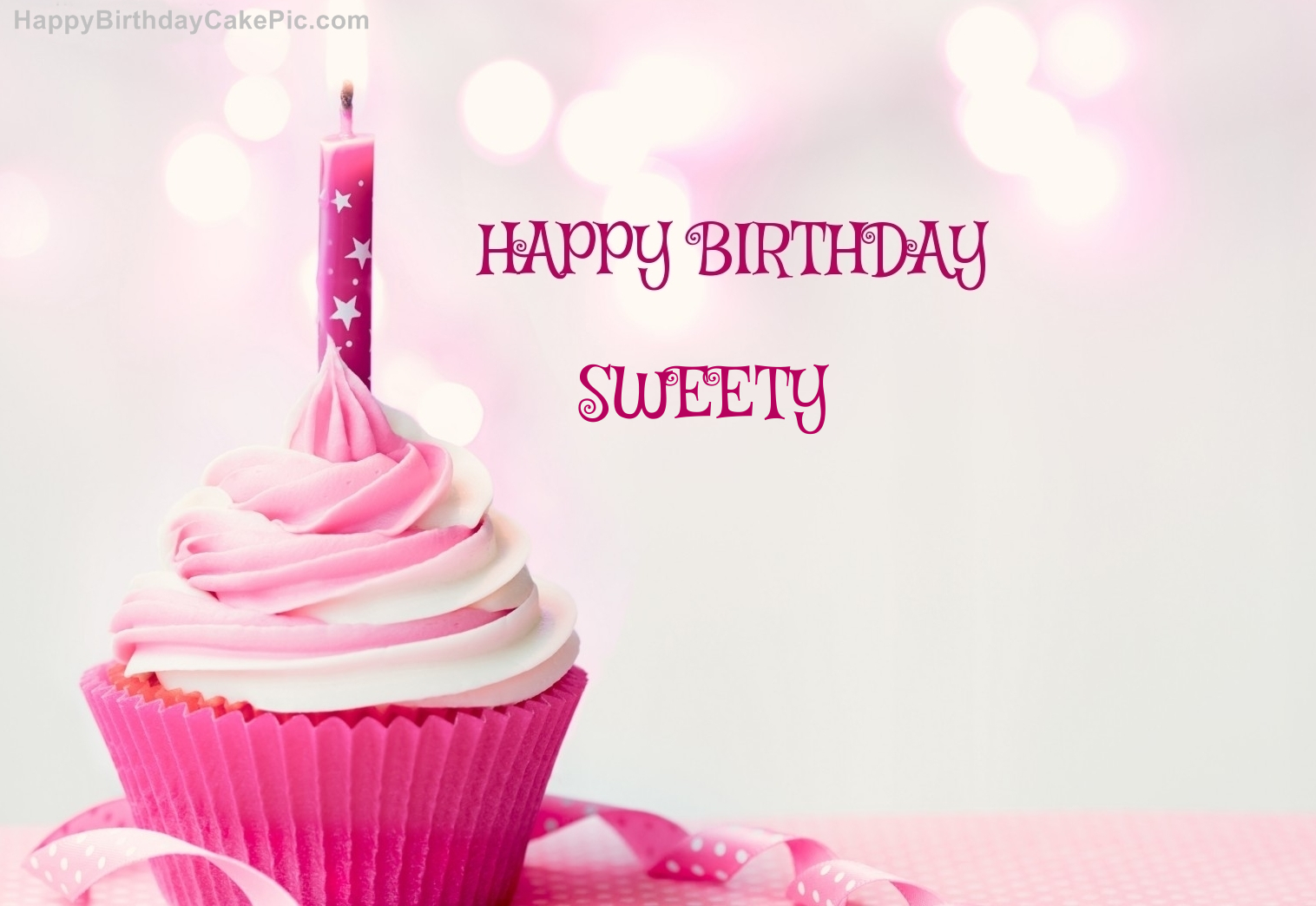 Happy Birthday Cupcake Candle Pink Cake For Sweety