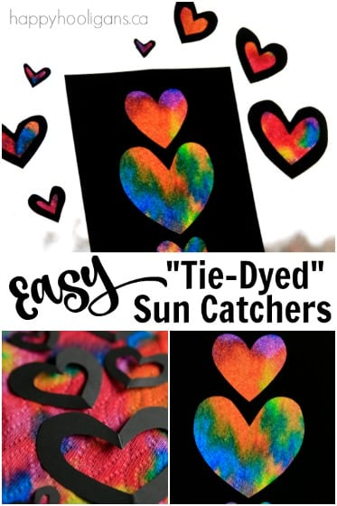 Easy Tie Dyed Heart Sun Catchers For Kids To Make Happy