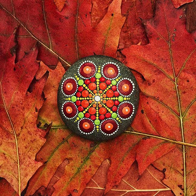 Ornamenti per il giardino fai da te. Decorazione del giardino autunnale con ciottoli dipinti