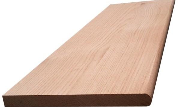 Red Oak Hardwood Stair Tread With Return – Blackford Sons | Red Oak Stair Treads | Non Slip | Bullnose Manufacturing | Modern | Dark Stain | Wood