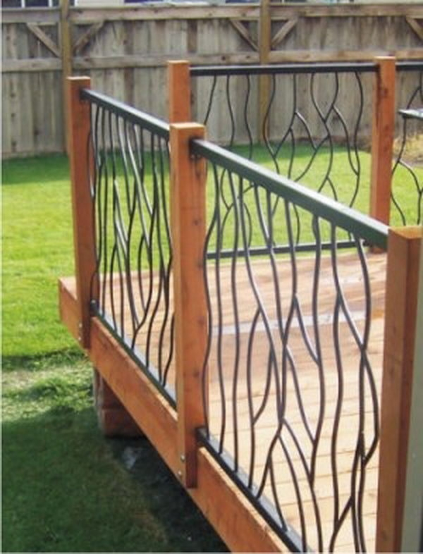 20 Creative Deck Railing Ideas For Inspiration Hative   Metal Handrails For Decks   Small Deck   Outdoor   Residential   Metal Rope   Decorative