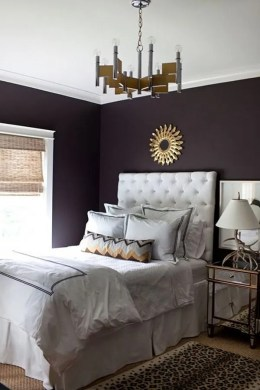 80 Inspirational Purple Bedroom Designs   Ideas   Hative Deep purple wall
