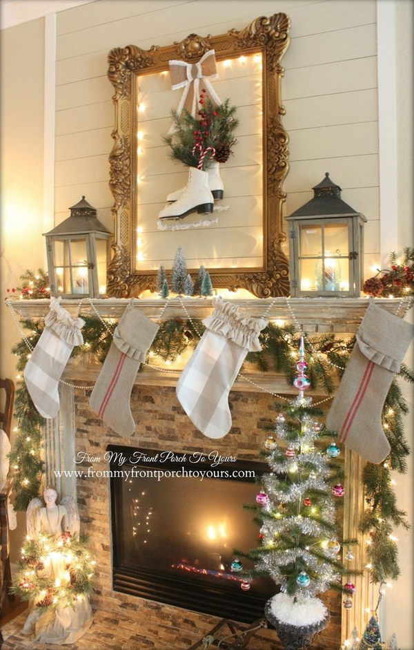 25  Gorgeous Christmas Mantel Decoration Ideas   Tutorials   Hative Gold Christmas Mantel