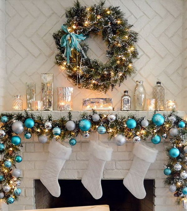 25  Gorgeous Christmas Mantel Decoration Ideas   Tutorials   Hative Elegant Christmas Mantel in Turquoise  White And Silver
