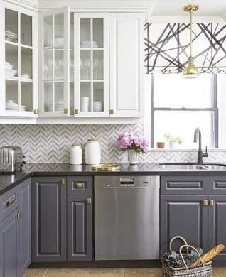 Stylish Two Tone Kitchen Cabinets for Your Inspiration   Hative White and Grey Kitchen Cabinets with Gold Hardware