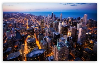 Chicago Skyscrapers, Night, USA 4K HD Desktop Wallpaper ...