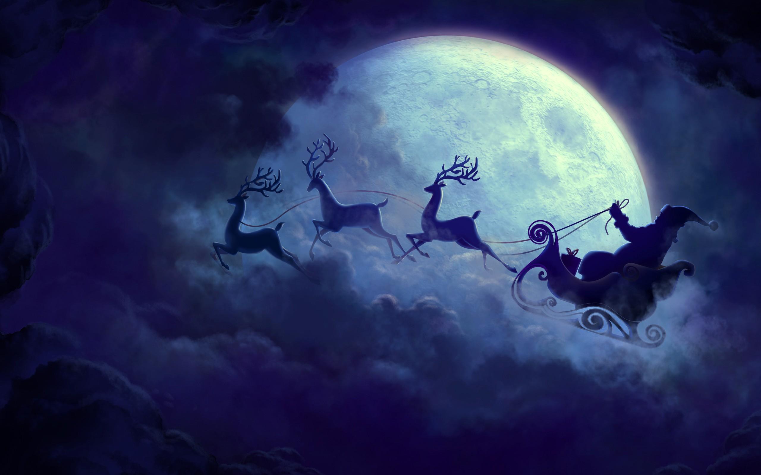 Santa Claus Moon Hd Celebrations 4k Wallpapers Images