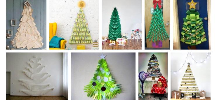 Árbol de navidad artificial y plano de Año Nuevo en la pared de papel.