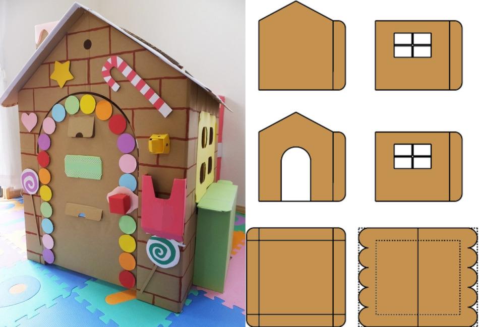 Схема деталей одноэтажного домика для кукол