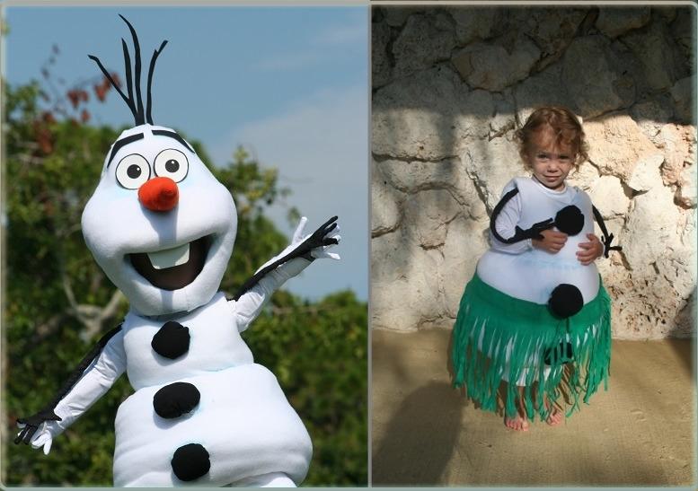Der fertige Anzug sieht aus wie ein Olaf-Schneemannbild von einem Cartoon aus.