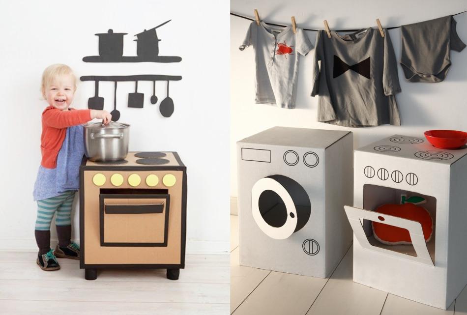 Печка и стиральная машина из картона