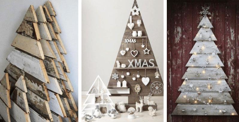 Puinen joulukuusi seinällä omalla kädellään