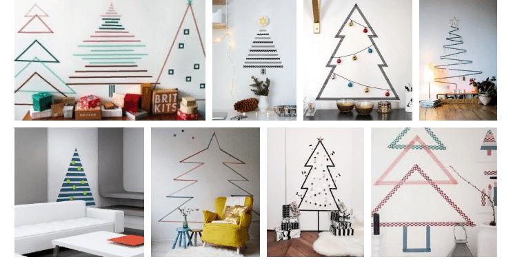 Etiqueta engomada de Navidad en la pared con tus propias manos.