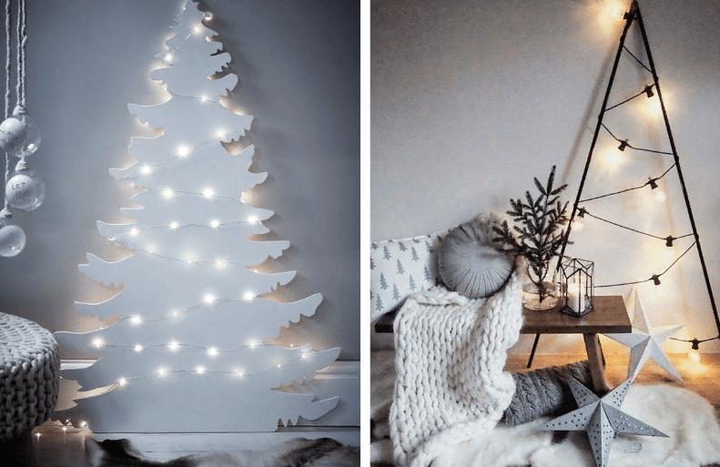 Árbol de año nuevo en la pared con tus propias manos.