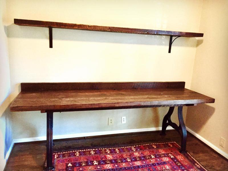Desks   Shelving Units   Hearthwoods Desk in Weathered White Pine with Industrial Cast Iron Base