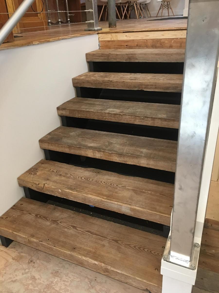 Flooring Stair Treads Hearthwoods   Reclaimed Wood Stair Treads   White Oak   Wood Plank   Straight Edge Wood   Lumber   Adhesive Padding 31 Wide Tread Single 10 Deep