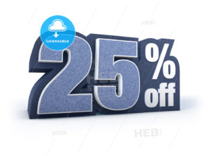 25 percent off denim styled discount price sign - Hebstreits
