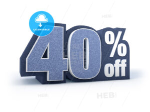40 percent off denim styled discount price sign - Hebstreits