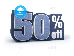 50 percent off denim styled discount price sign - Hebstreits