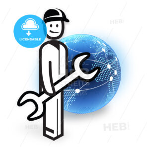 Service Employee and Dotted Globe Network - Hebstreits