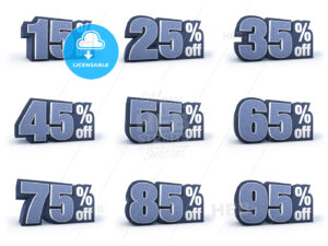 Set of Discount price signs, in 9 variations isolated on white background - Hebstreits