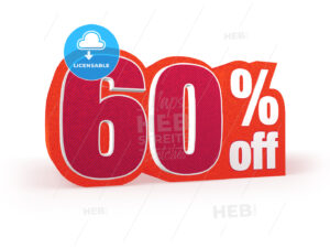 60 percent off red wool styled discount price sign - Hebstreits