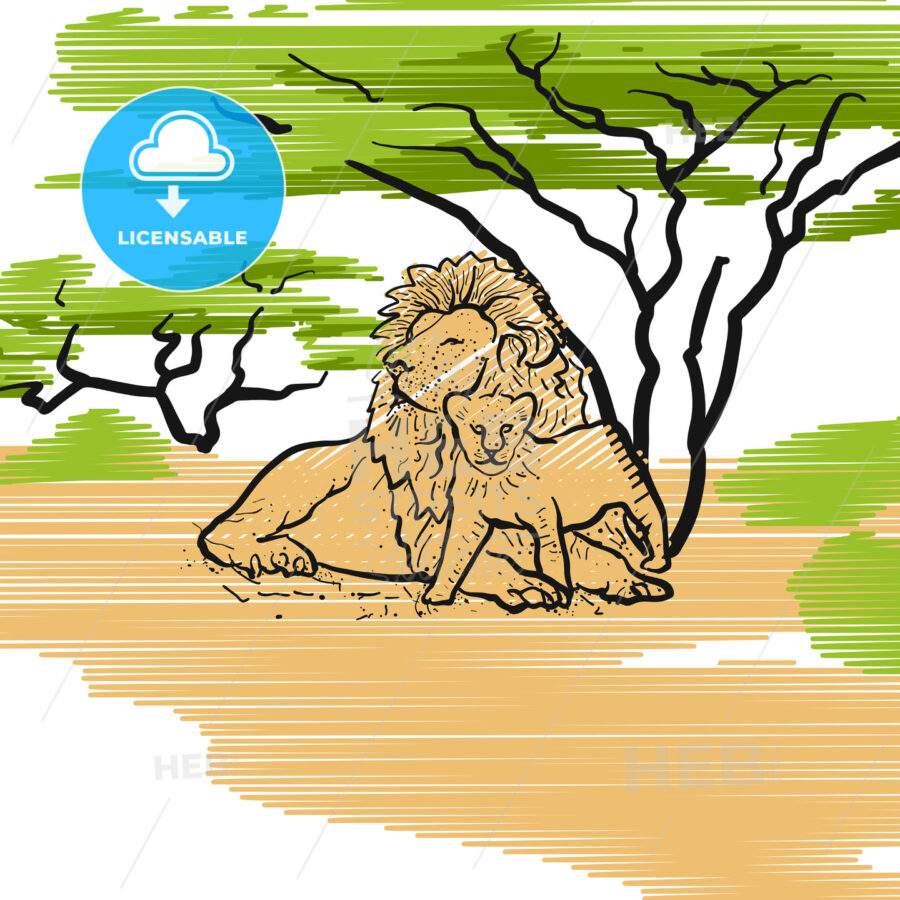 Lion Family Icon Illustration - Hebstreits
