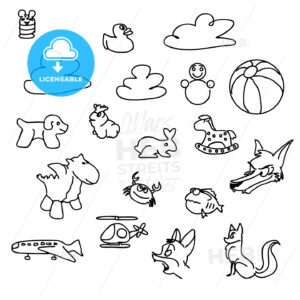 Baby game Doodles Sketched Vector Art - Hebstreits