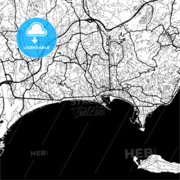 Cannes, France, Monochrome Map Artprint Template