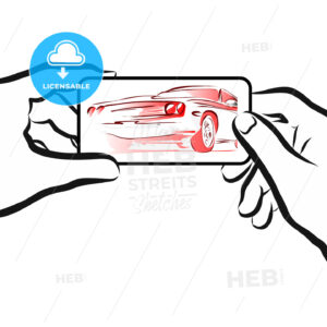 Car Rental App Concept Sketch with Smartphone in Hands - Hebstreits