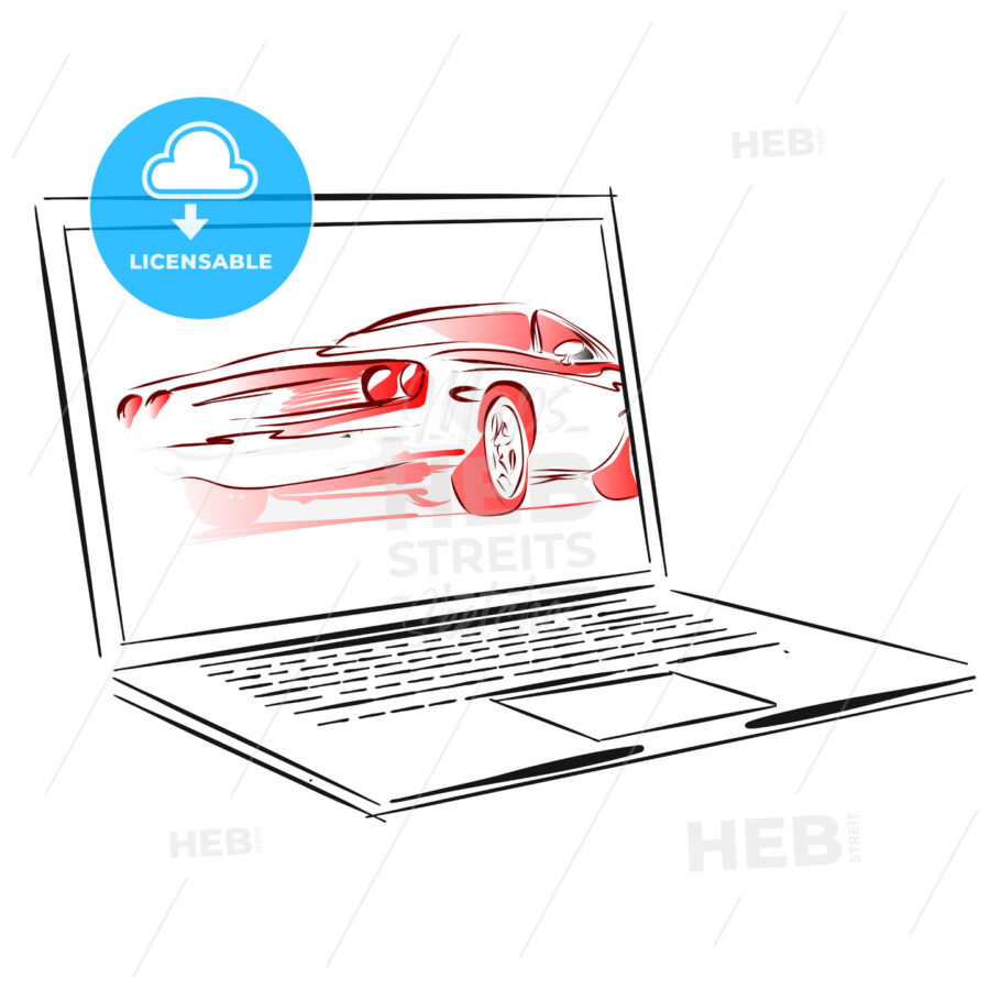Car Rental App for Laptop Concept Sketch - Hebstreits