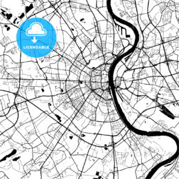 Cologne, Germany, Monochrome Map Artprint Template