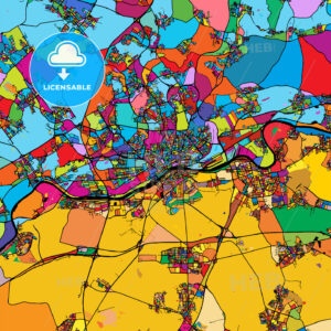 Frankfurt am Main Area Colorful Vector Map on Black - HEBSTREIT's Sketches