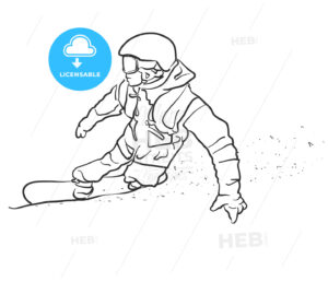 Freestyle Snowboarder takes Curve Sketch - Hebstreits