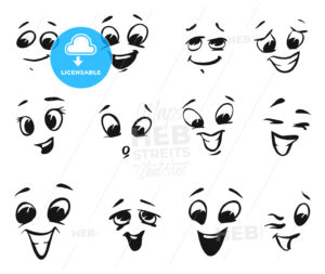 Happy smiling and laughing cartoon Faces - Hebstreits