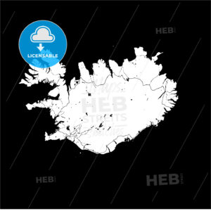 Iceland Island Monochrome Map Artprint - HEBSTREIT's Sketches