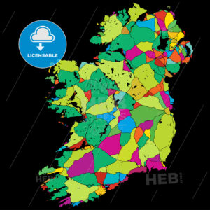 Ireland Colorful Vector Map on Black - HEBSTREIT's Sketches